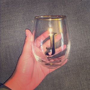 """J"" stemless wine glass"